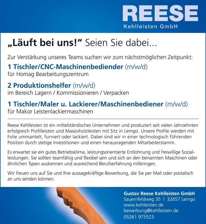 Jobs | Reese Kehlleisten | Lemgo
